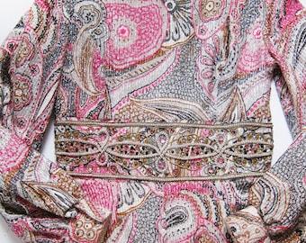 Vintage Jumpsuit / 60s Long Sleeve Maxi Dress / Palazzo Pants / Glam Retro Pink Psychedelic Dress Medium