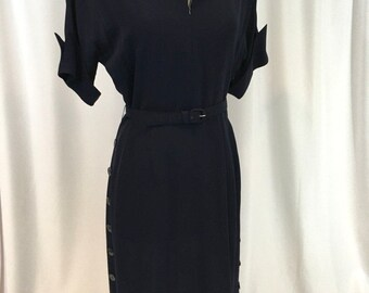 Navy Blue 1940's Semi Sheer Dress with Belt - Nautical Feel, Button Detail down sides, Striped Collar