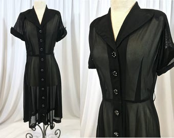 Black 1940's Mesh Weave Short Sleeve Dress - Sheer with Black Buttons with Rhinestone