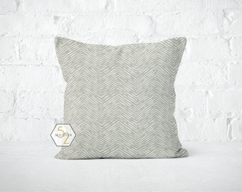 Grey Chevron Pillow Cover - Cameron Storm - Lumbar 12 14 16 18 20 22 24 26 Euro - Hidden Zipper Closure