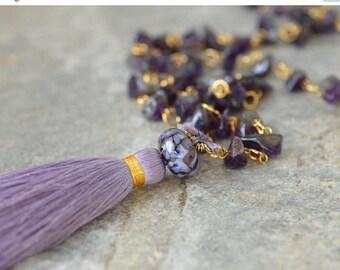 ON SALE Gemstone tassel necklace Boho amethyst nugget necklace  Purple silk tassel Long beaded chain necklace Bohemian jewelry Amethyst jewe