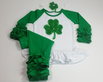 St Patrick's Day Outfit, Green Raglan Shamrock Shirt with Matching Headband and leggings, Icing Ruffle Outfit, Green Ruffle Outfit