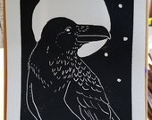 "Raven linocut print in black - 5""x7"""