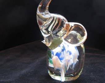 vintage glass paperweight figurine, elephant with large bubbles and blue center