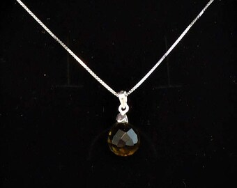 Teardrop faceted smoky quartz pendant on 925-silver necklace, birthstone pendant, november birthstone