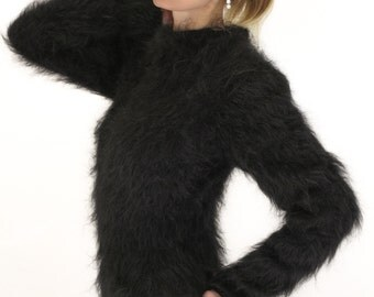 SUPERTANYA hand knitted black sexy fuzzy mohair bodysuit - size S and M