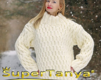 Boutique thick wool sweater, hand knitted warm jumper in ivory by SuperTanya