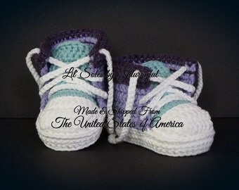Baby Tennis Shoes, Baby Sneakers, Baby Converse, Baby Chuck Taylors, Crochet Baby Shoes, Neutral Baby Gift, Baby Shower Gift, Baby Boy Shoes