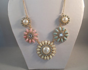 Gold Tone Necklace with White, Aqua and Pink Flower, White Pearl and Clear Rhinestones and Crystal Pendants on a Gold Tone Chain