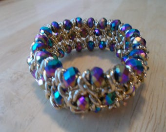 Gold Wire Stretch Cuff Bracelet with Multi Color Bycon Crystal Beads