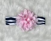 CLEARANCE SALE - Newborn Baby Girl Zebra Headband, Zebra Pink, Baby Girl Accessories, Baby Photo Prop, Baby Girl Gift, Baby Hair Bow