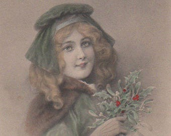 Festive Christmas Lady With Holly Original Antique Postcard