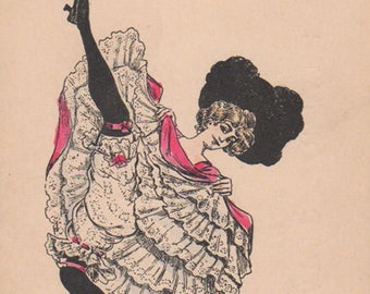 Moulin Rouge Can Can Dancer Original Antique Art Postcard