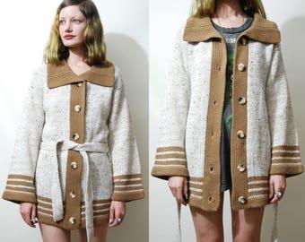 70s Vintage STRIPE CARDIGAN Wrap Sweater Flared Bell Sleeves Kimono Robe Chunky boho knit Knitted Belt Jacket Bohemian Hippie 1970s vtg S M