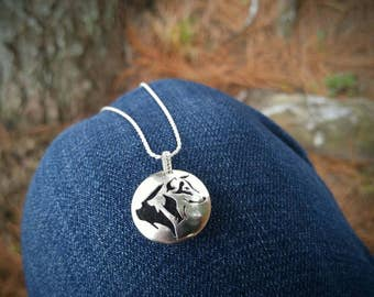 Sterling Silver Essential Oil Necklace with Hand Sawn Wolf Profile. Aromatherapy Pendant, Personal Diffuser. Wolf Pendant Ready to Ship.