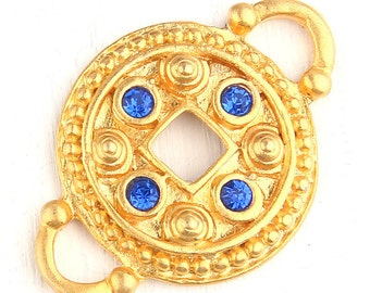 Round Connector with rhinestone beads, 1 piece // GC-464