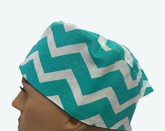 Unisex Scrub Cap - Turquoise Chevron scrub hats - Scrub Hats - Surgeons Scrub Cap - Doctors Gift - Fancy Scrub Hat - Nurses hat