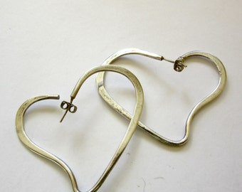 Silver Heart Earrings - Taxco Mexican Silver - TF - 39 - Hoop Earrings