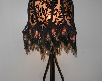 Victorian Lamp, Black Lamp Shade, Beaded Vintage Handmade, One of a Kind Lampshade - EYES OF LOVE