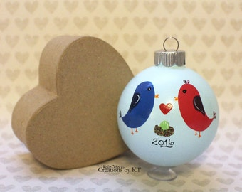 Love Birds Ornament MADE TO ORDER Expecting New Baby Pregnancy Announcement Hand Painted Glass Bauble