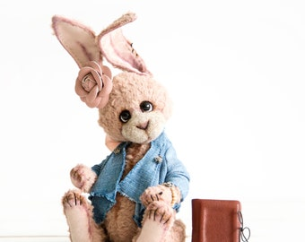 Artist Teddy Bunny Nataly + FREE shipping - Collectible Bear - Stuffed Teddy Bunny - Gift idea