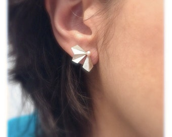 Folded  leaf studs with pearl- origami earrings - leaf earrings