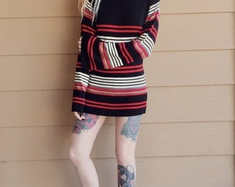 Retro Turtleneck Knit Striped Mini Sweater Dress Top with Bell Sleeves // Women's size Small S
