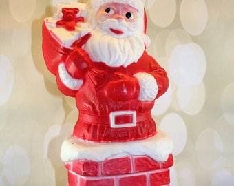 Charming Vintage Santa Blow Mold, Santa Light, Light up Santa, Santa Claus, Chimney, Mid Century, Kitsch, Kitschmas, molded plastic, light