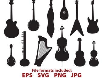String Instruments, guitar, violin, cello, banjo, mandolin, harp, tampuri, lute, digital, vector, clip art, SVG, Cutting Files, Silhouette