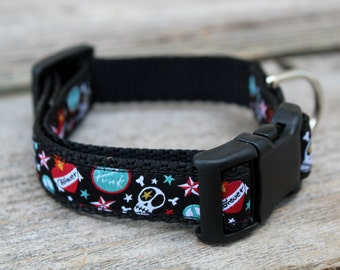 """Skull Tattoo Dog Collar. 3/4"""" wide, available in S, M, L"""