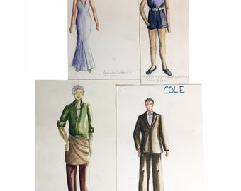 4 Original Costume Designer Sketches - 1980s Hand Drawn Play Theater Costume Drawing Possibly Pastels & Watercolors Still-Artist Rendering