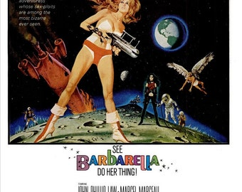 1968 Barbarella Jane Fonda Original Movie Poster Ad Queen of the Galaxy 60s Atomic Space Age Mod GoGo Boots Cosmic Sex Symbol Wall Art Decor