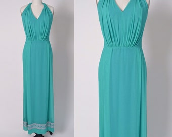Vintage 1960s Dress 60s Halter Evening Gown Chiffon