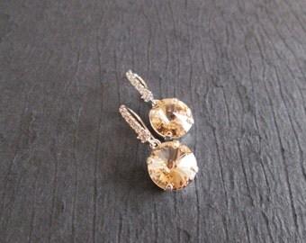 NEW Light Silk Bridesmaid Earrings/Swarovski Light Silk Crystal Earrings/Bridesmaid /Swarovski Crystal Earrings/Light Silk Bridal Earrings