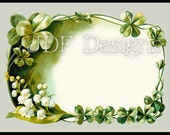 Instant Digital Download, Vintage Antique Graphic, Floral Shamrock Frame, Text Box, Irish,Place Card Scrapbook Image, Label, St Patricks Day