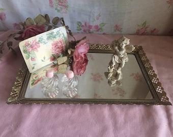 Vintage Ormolu Vanity Dresser Mirror - Gold toned Jewelry Perfume holder - Dresser tray - Antique Ormolu Filigree