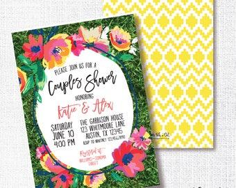 SUMMER BACKYARD FLORAL bridal shower invitation, baby shower, couples, wedding, picnic, I do bbq, brunch, invite, garden, bright floral