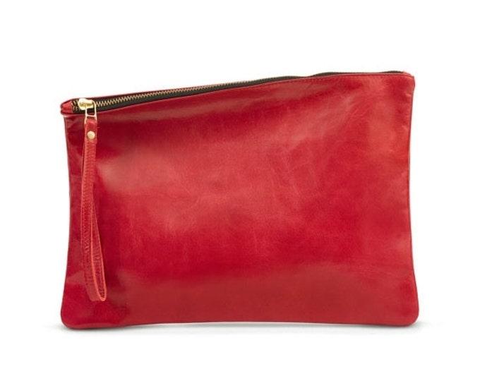 Red clutch purse, leather clutch bag