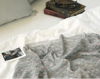 Pink Flowers and Birds Chiffon Fabric, Gray - By the Yard 90939