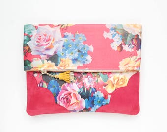 Flower clutch purse - leather bag - folded nature inspired purse- tassel pull bag-red suede bag- red yellow- Ready to Ship/FLOWERET 55