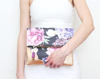 BLOOM 10 / Flower clutch purse-leather bag-fold over purse-scalloped leather-handbag-floral print-tassel pull bag-pink navy-Ready to Ship