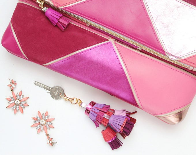 SALE! Natural leather key chain. Genuine leather keychain. Leather tassel keychain. Metal key fob. Handmade tassels. Bag charm. Pink purple.