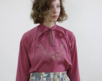 vintage dark pink blouse with floral embroidery and tie collar