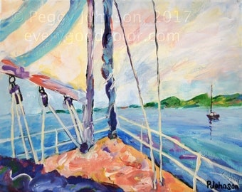 nautical sailing sail boat impressionistic painting art print choose your size Peggy Johnson everygoodcolor