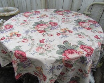 Raymond Waites Cabbage Rose Petit Conservatory Tablecloth Throw Reversible  With Beaded Edge