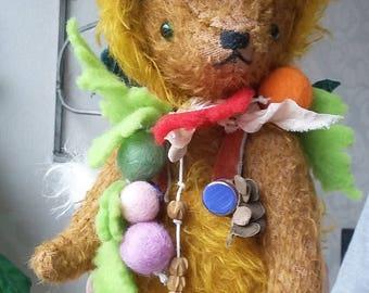 Cute Handmade ooak 10'' Brown Bear in Orange Fox Suit Artist Natural Mohair Bear