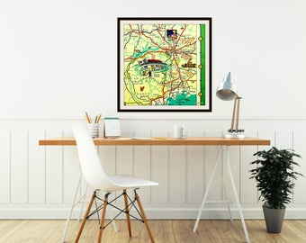 Tallahassee Map Art Tallahassee Map Print, FSU Decor, Dorm Decor, Illustrated map, Pictorial map art Florida State University, FSU gift