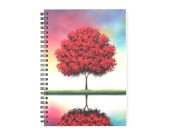 """Colorful Red Tree Notepad, Spiral Notebook, Tree Notebook, Cute Journal, Rainbow Sky Journal, 6x8"""" Spiral Journal, Artsy Stocking Stuffer"""