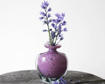 Vintage Mdina Vase - Pink Purple Hand Blown Vintage Mdina Glass Bud Vase