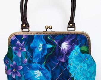 11.5'' Handle bag, Kiss lock, PU handle - Large Floral Midnight